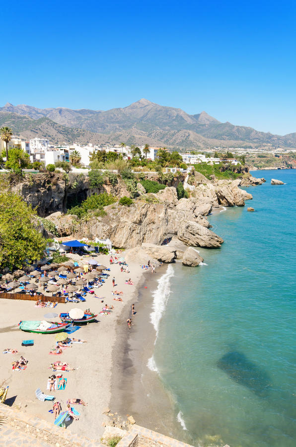 Nerja Beach Famous Touristic Town In Costa Del Sol Mlaga Spain