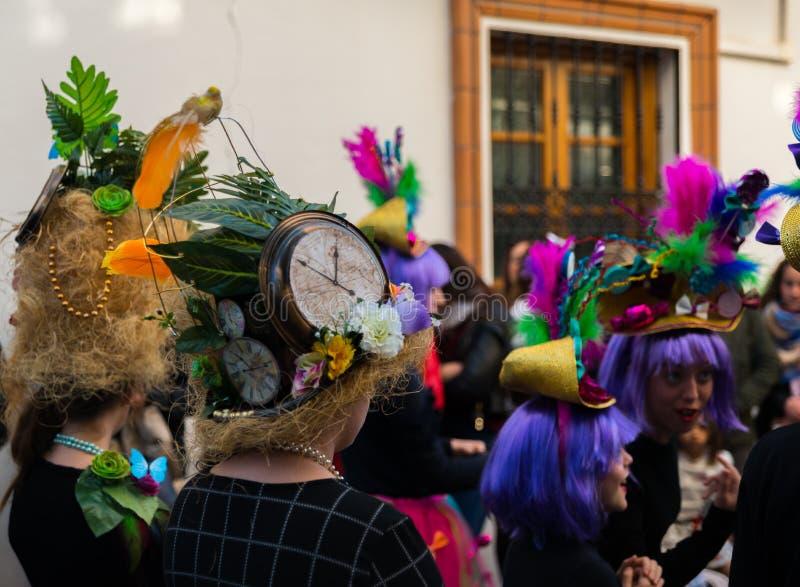 NERJA, ESPAÑA - 11 de febrero de 2018 gente en trajes que celebra imagenes de archivo