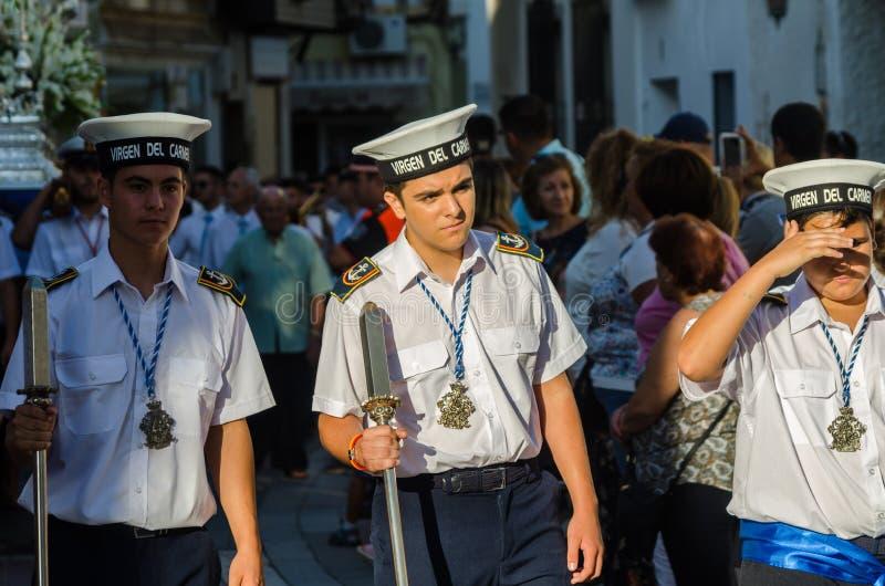 NERJA HISZPANIA, LIPIEC, - 16, 2018 roczna parada w nabrzeżnym Andalu obraz royalty free