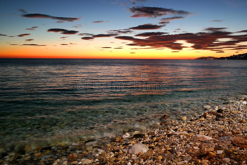 Nerja-Sonnenuntergang, Seeansicht, Spanien stockfotografie