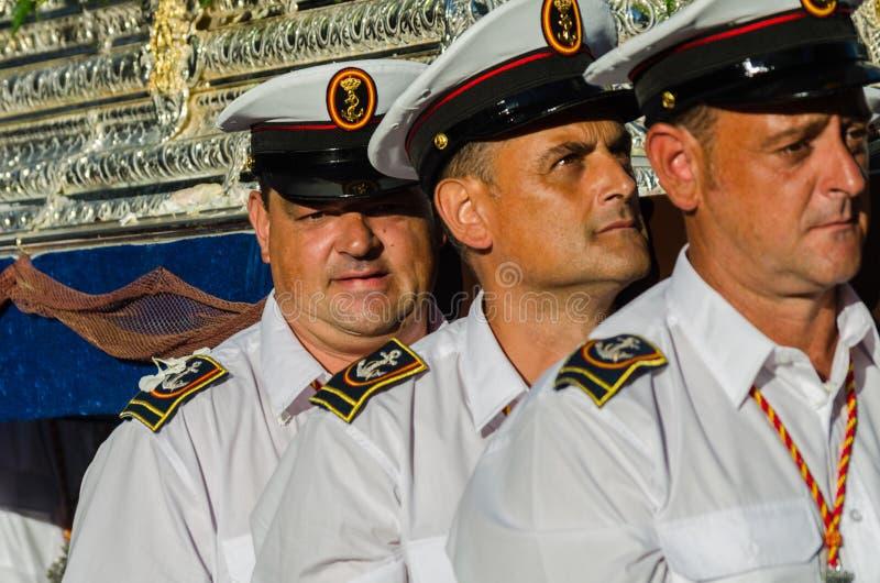 NERJA, SPAGNA - 16 luglio 2018 parata annuale nel Andalu costiero fotografie stock libere da diritti