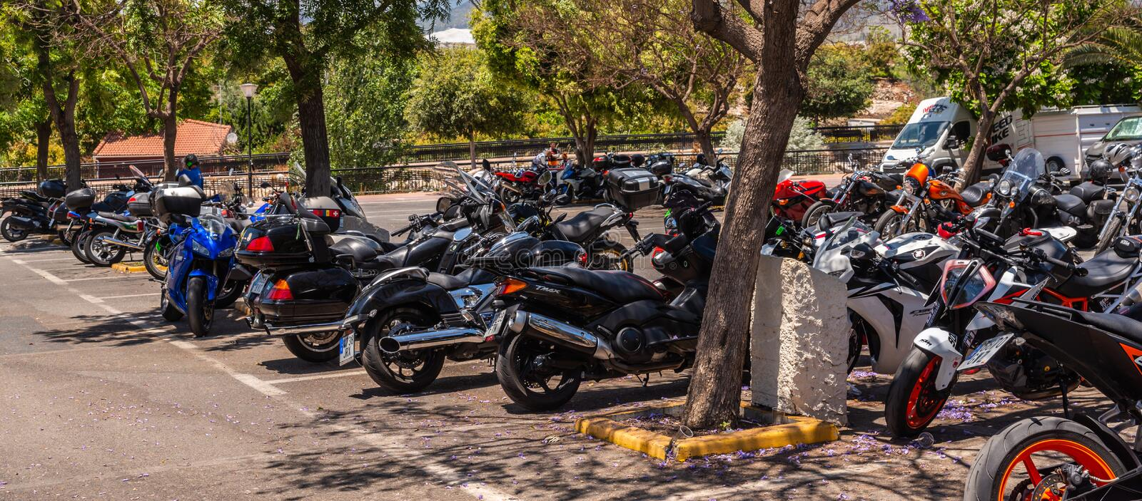 NERJA, SPAIN - JUNE 10, 2018 motorcycle rally in the famous Andalusian town of Nerja stock image