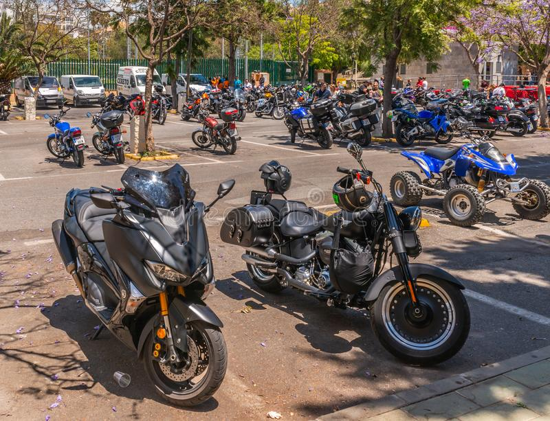 NERJA, SPAIN - JUNE 10, 2018 motorcycle rally in the famous Andalusian town of Nerja stock photography