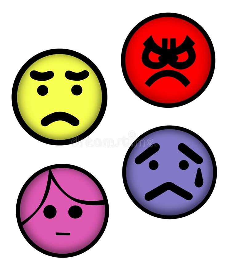nervös ilsken framsida royaltyfri illustrationer