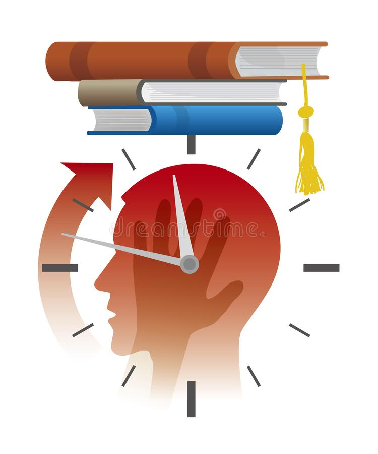 Nerv?s student f?r examina, stopptidbegrepp, tecknad film stock illustrationer