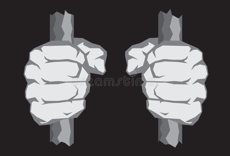 Nervöse Fäuste auf Gefängnis-Stäben stock abbildung