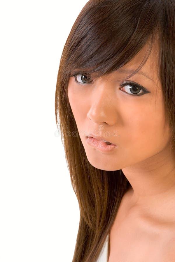 nervöst teen för asiatisk framsida arkivfoton
