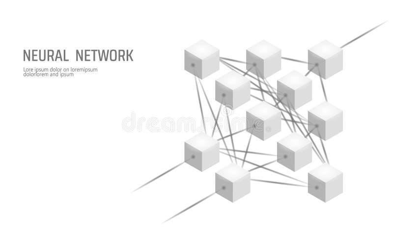 Nerv- netto Neuronnätverk Djupt lära Kognitivt teknologibegrepp Logiskt minne för konstgjord intelligens stock illustrationer