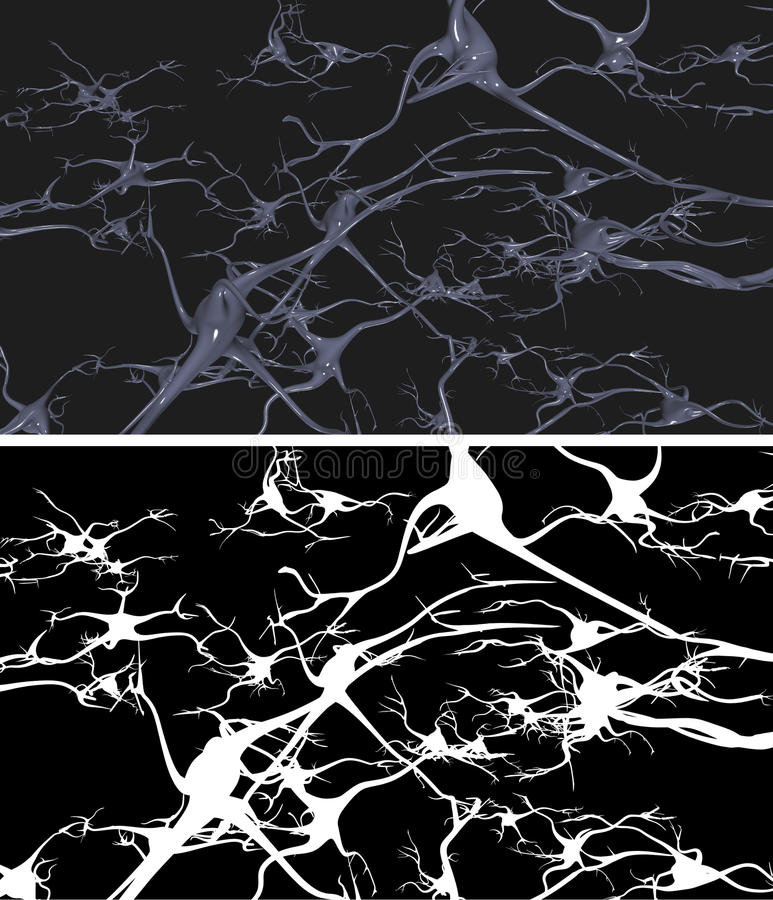 Nerve cells. With alpha mask for easy extraction royalty free illustration