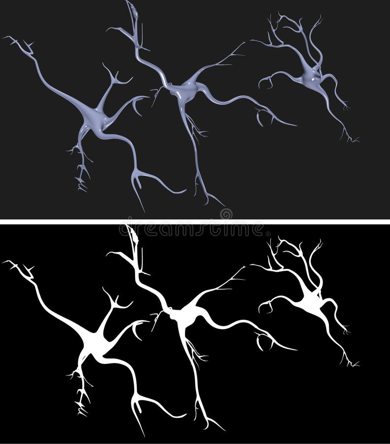 Nerve cells with alpha mask. For easy extraction stock illustration