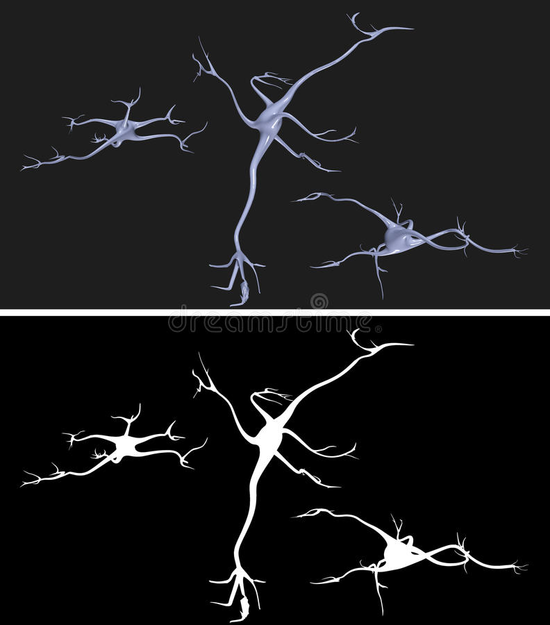 Nerve cells with alpha mask for extraction. Nerve cells with alpha mask for easy extraction stock illustration