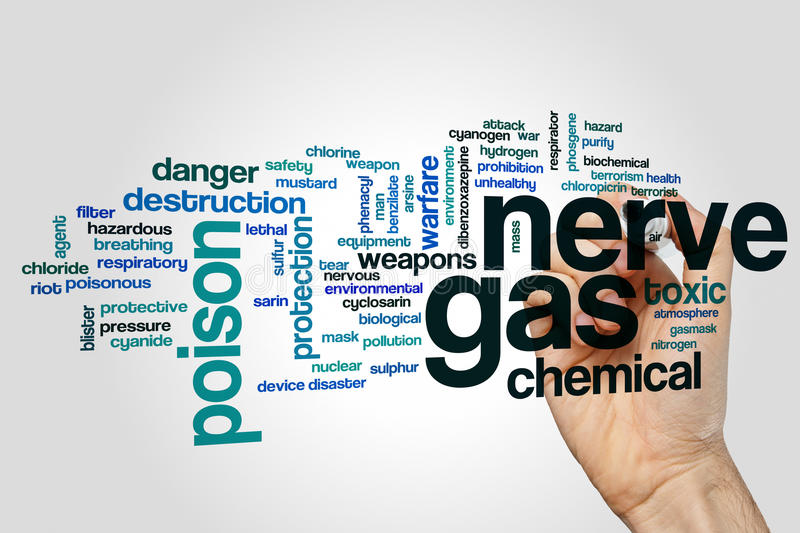 Nerve gas word cloud stock images