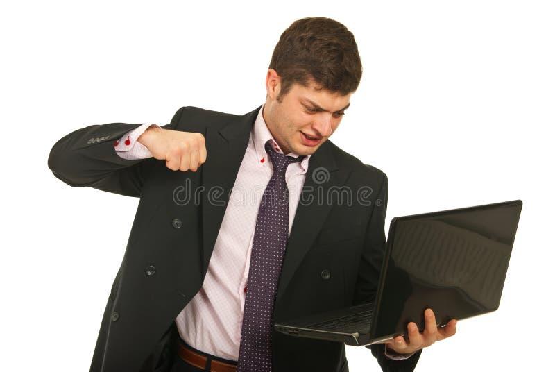 Download Nervous Business Man Fist  Laptop Stock Image - Image: 23373291