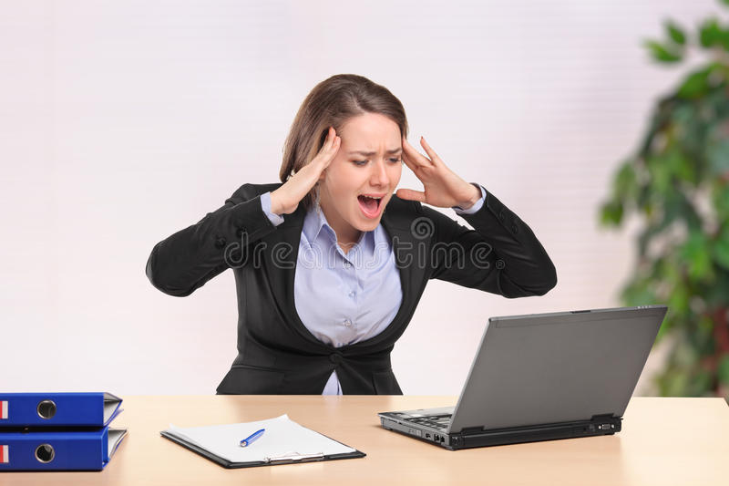 Download Nervous Businesswoman Yelling To A Laptop Stock Image - Image: 20151795
