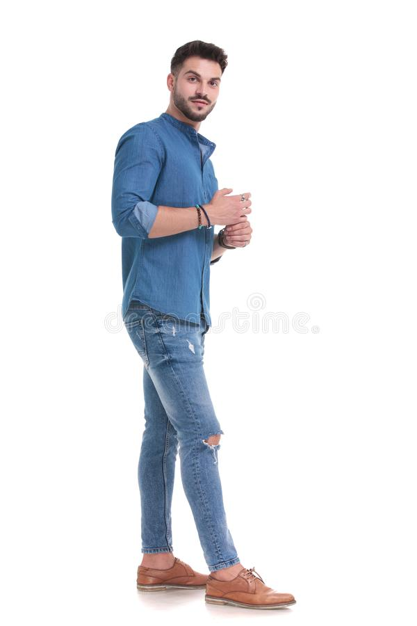 Free Nervous Casual Man Waiting And Thinking While Standing Stock Photography - 161648082
