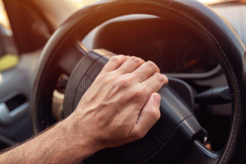 Nervous driver pushing car horn stock image