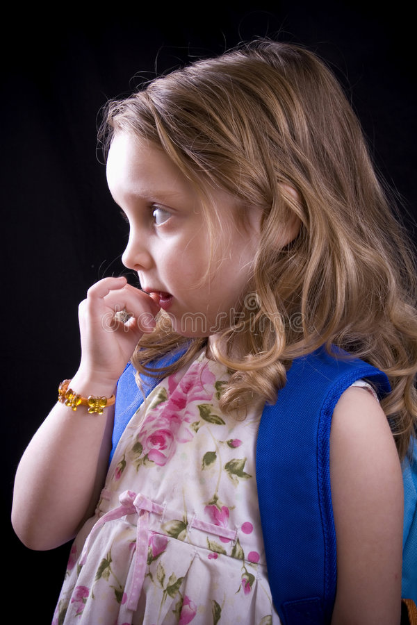 Nervous girl stock photo
