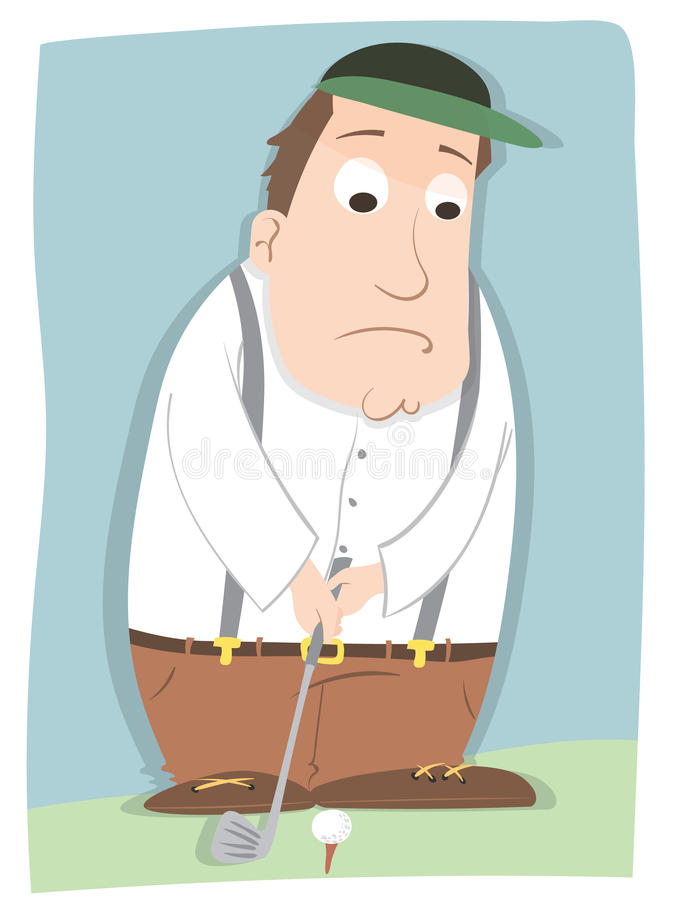 Nervous golfer. Cartoon nervous male golfer playing golf stock illustration