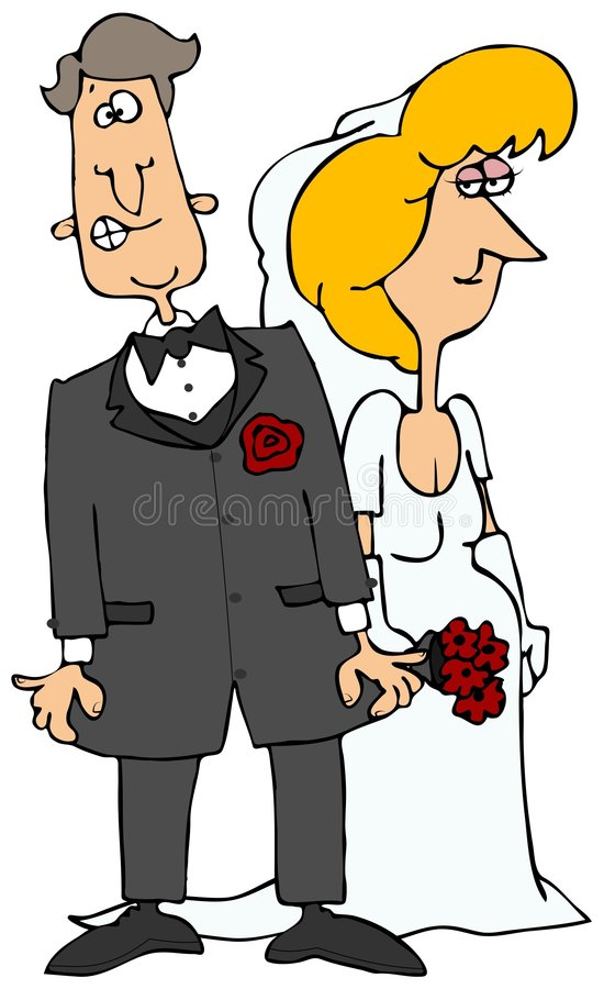 Nervous Groom & His Bride vector illustration