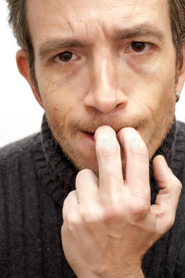 Nervous Man Biting His Nails Stock Photo - Image of nerves, self ...