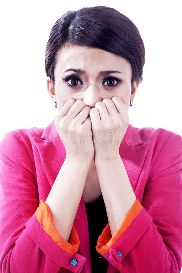 Download Nervous Scared Businesswoman Royalty Free Stock Images - Image: 24562649