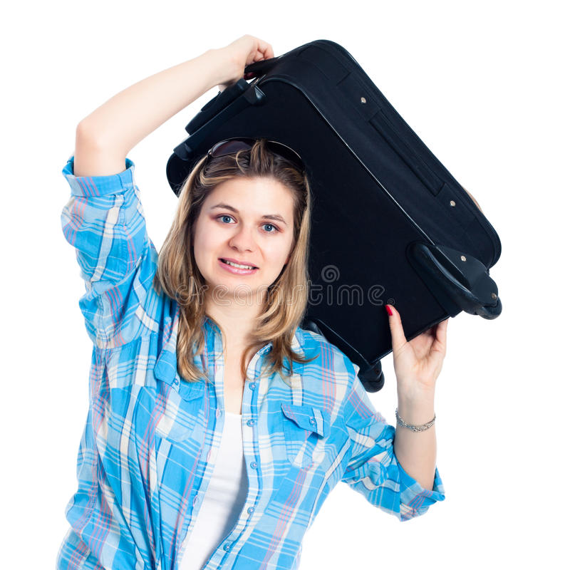 Download Nervous Traveller Woman With Luggage Royalty Free Stock Image - Image: 24506556