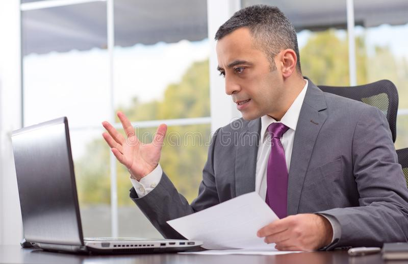 Nervous Young Businessman royalty free stock images