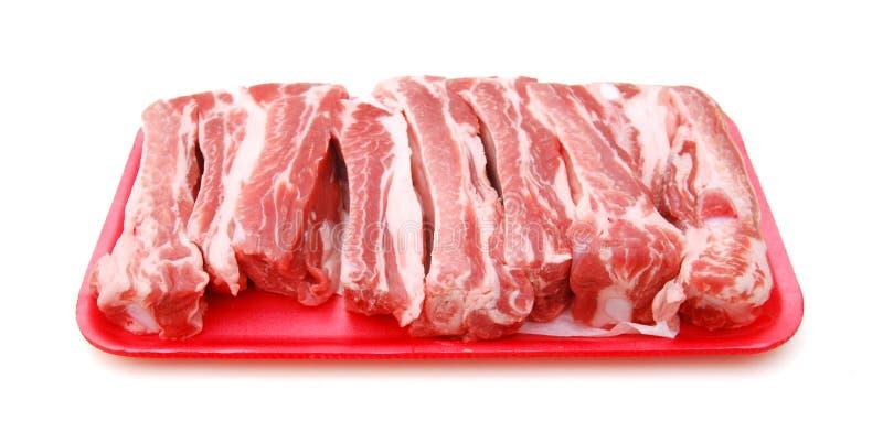 Nervures de porc crues image libre de droits