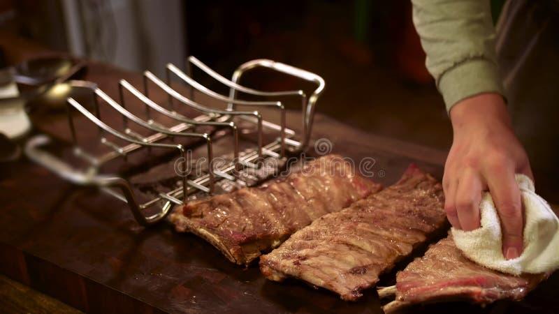 Nervures de porc grill?es Viande, juteuse image stock