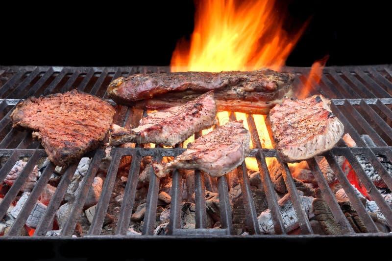 Nervures de porc, poitrine et bifteks grillés photographie stock libre de droits