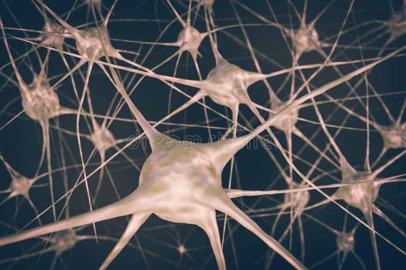 Nerw komórki w mózg - retro styl ilustracji
