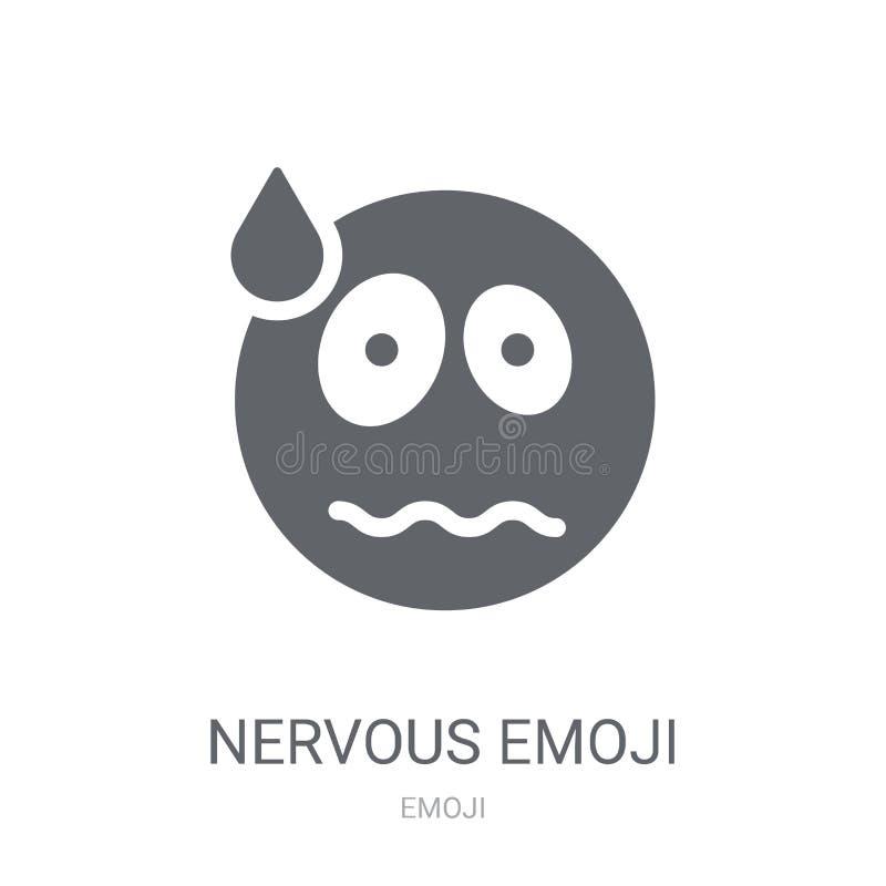 Nerwowa emoji ikona  ilustracja wektor