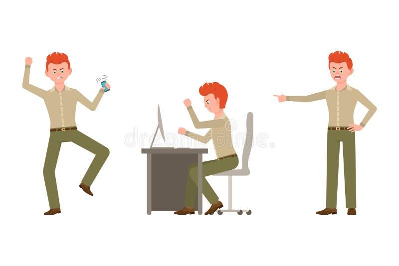 Nerwowy, agresywny, czerwony włosiany urzędnik w zieleni, dyszy wektorową ilustrację ilustracja wektor