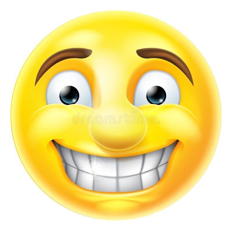 Nerwowy uśmiechu Emoji Emoticon ilustracja wektor