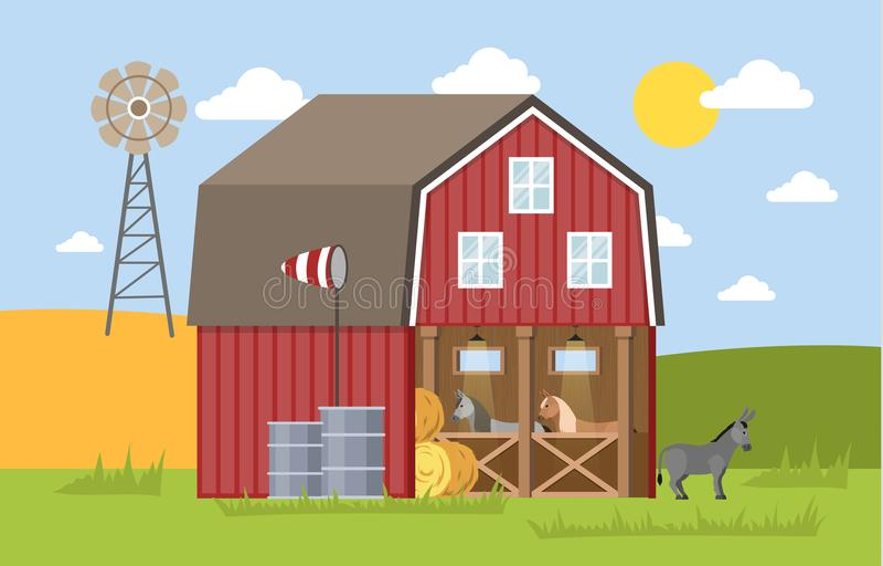 Ânes dans la grange illustration stock