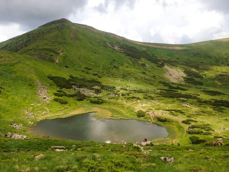 Nesamovyte lake in Karpatian mountain. stock image