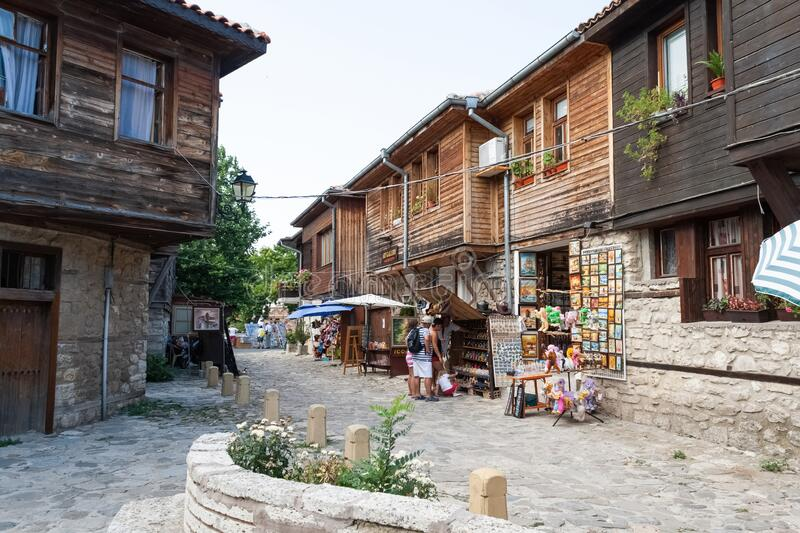 Old Town of Nesebar, a cozy street. Very popular place with tourists who come to Bulgaria souvenir shops in Old Town of Nessebar. royalty free stock images