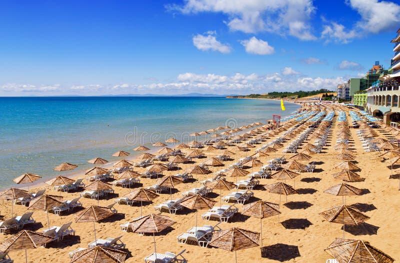 Nessebar南海滩在夏天 免版税库存图片