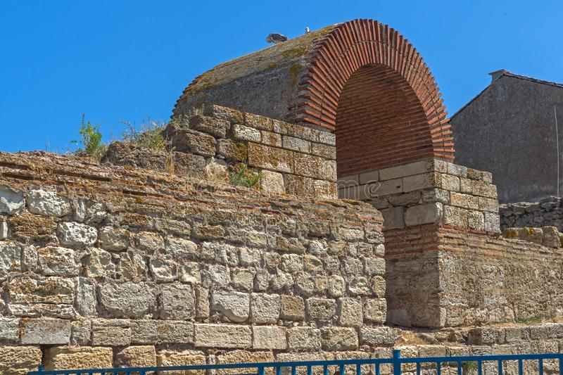 Ruins of Fortifications at old town of Nesebar, Bulgaria stock photography