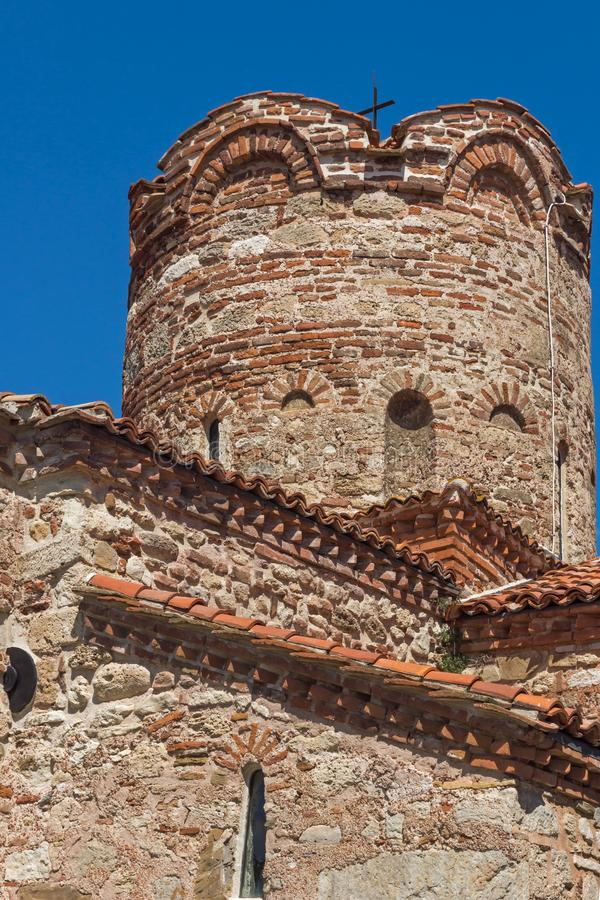 Summer view of Ancient Church of Saint John the Baptist in the town of Nessebar, Burgas Regi. NESSEBAR, BULGARIA - AUGUST 12, 2018: Summer view of Ancient Church royalty free stock photography