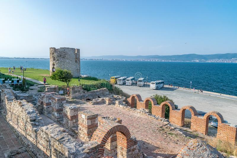 Nessebar, Bulgaria - 2 Sep 2018: Basilica of the Holy Mother of God Eleusa Church ancient ruins in Nessebar on the Bulgarian Black royalty free stock photography