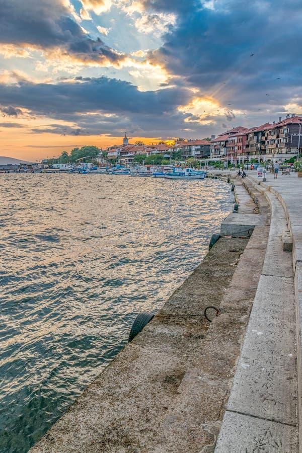 Nessebar, Bulgaria - 7 Sep 2018: Boats at harbor in Nessebar, one of the major seaside resorts on the Bulgarian Black Sea Coast. royalty free stock image