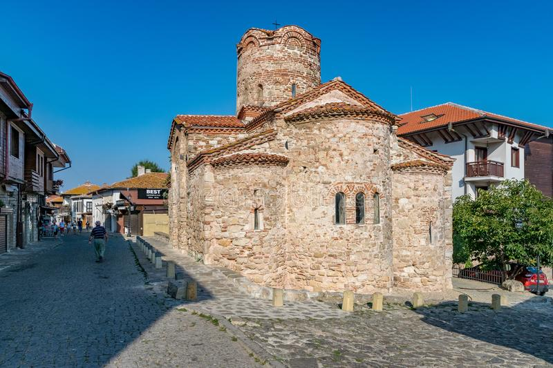 Nessebar, Bulgaria - 7 Sep 2018: The Church of St. John the Baptist, a cruciform church in Nesebar ancient city. Nessebar or. Nesebr is a UNESCO World Heritage royalty free stock images
