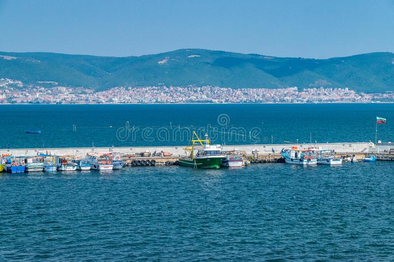 Nessebar, Bulgaria - 7 Sep 2018: Fishing boats at the Harbor Port of Nessebar, one of the major seaside resorts on the Bulgarian stock images
