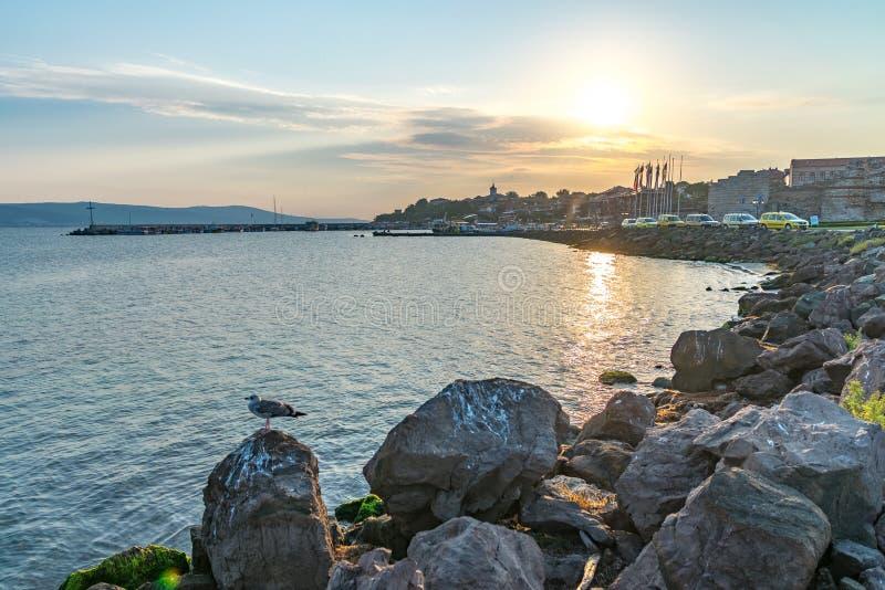 Nessebar, Bulgaria - 7 Sep 2018: The harbor of Nessebar, one of the major seaside resorts on the Bulgarian Black Sea Coast. stock photo