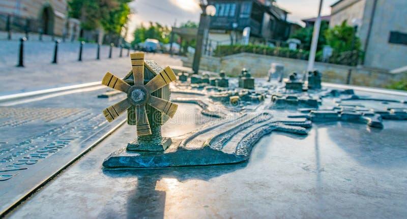 Nessebar, Bulgaria - 7 Sep 2018:  Miniature metal map of the Nesebar ancient city, one of the major seaside resorts on the. Bulgarian Black Sea Coast. Nessebar stock images