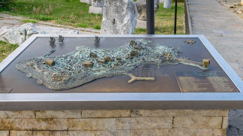 Nessebar, Bulgaria - 7 Sep 2018:  Miniature metal map of the Nesebar ancient city, one of the major seaside resorts on the. Bulgarian Black Sea Coast. Nessebar royalty free stock photography