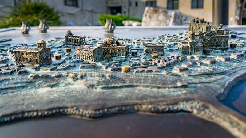 Nessebar, Bulgaria - 7 Sep 2018:  Miniature metal map of the Nesebar ancient city, one of the major seaside resorts on the. Bulgarian Black Sea Coast. Nessebar royalty free stock photos