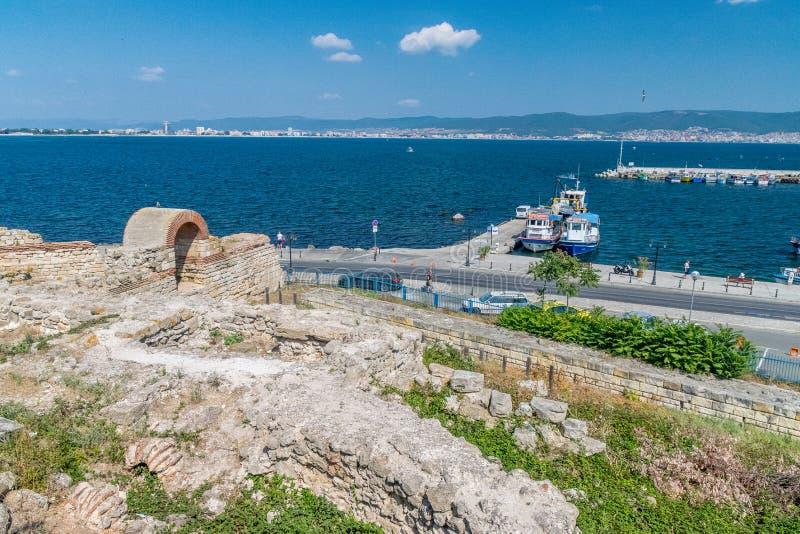 Nessebar, Bulgaria - 7 Sep 2018:  Nesebar ancient city ruins, one of the major seaside resorts on the Bulgarian Black Sea Coast. stock photos