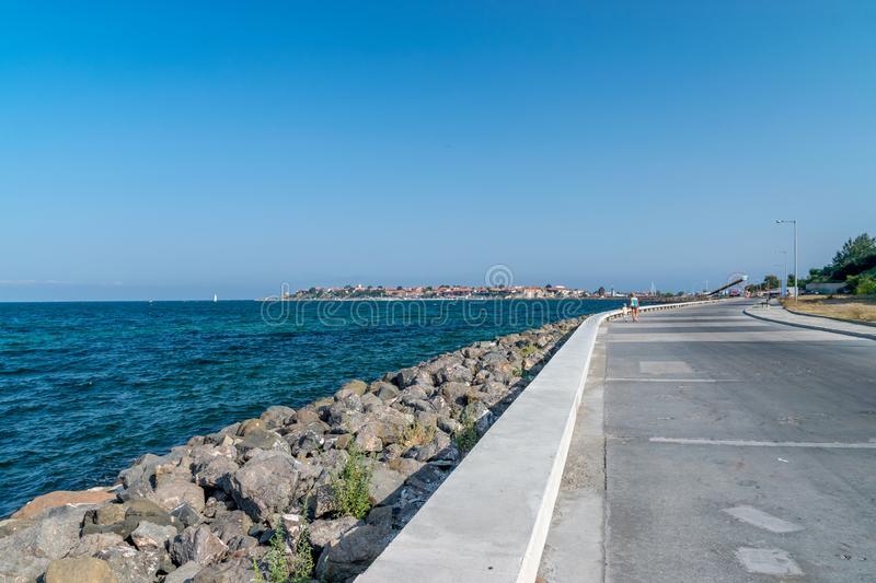 Nessebar, Bulgaria - 2 Sep 2018: The street leading to the Nesebar ancient city, one of the major seaside resorts on the Bulgarian stock images